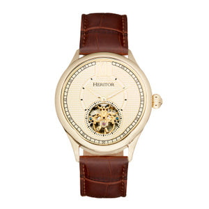 Heritor Automatic Hayward Semi-Skeleton Leather-Band Watch