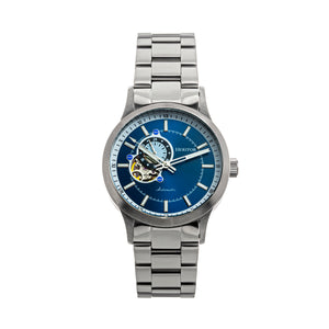 Heritor Automatic Oscar Semi-Skeleton Bracelet Watch - Blue & Silver/Silver - HERHS1010