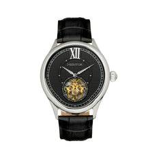 Load image into Gallery viewer, Heritor Automatic Hayward Semi-Skeleton Leather-Band Watch - Silver/Black - HERHR9402