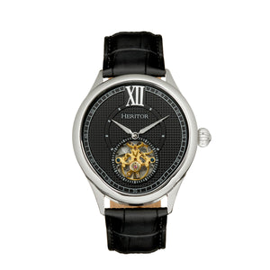Heritor Automatic Hayward Semi-Skeleton Leather-Band Watch - Silver/Black - HERHR9402