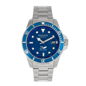 Heritor Automatic Lucius Bracelet Watch w/Date - Silver/Blue - HERHR7803