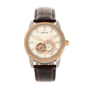 Heritor Automatic Davidson Semi-Skeleton Leather-Band Watch