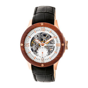 Heritor Automatic Belmont Skeleton Leather-Band Watch - Rose Gold/Silver - HERHR3905