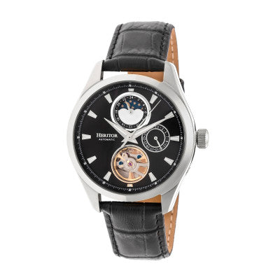 Heritor Automatic Sebastian Semi-Skeleton Leather-Band Watch