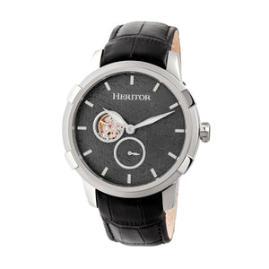 Heritor Automatic Callisto Semi-Skeleton Leather-Band Watch - Silver/Grey - HERHR7201