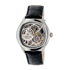 Heritor Automatic Odysseus Leather-Band Skeleton Watch - Silver - HERHR3703