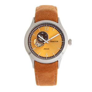 Heritor Automatic Antoine Semi-Skeleton Leather-Band Watch - Silver/Umber - HERHR8507