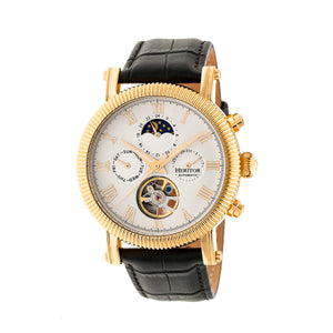 Heritor Automatic Winston Semi-Skeleton Leather-Band Watch - Gold/White - HERHR5203
