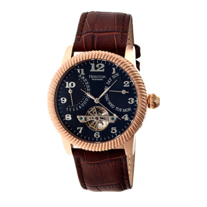 Heritor Automatic Piccard Semi-Skeleton Leather-Band Watch - Rose Gold/Black - HERHR2006