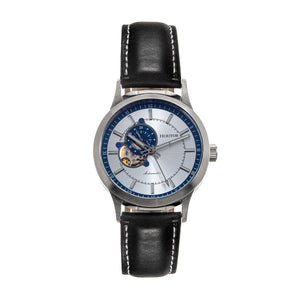 Heritor Automatic Oscar Semi-Skeleton Leather-Band Watch - Silver & Blue/Black - HERHS1004