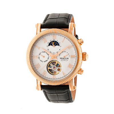 Heritor Automatic Winston Semi-Skeleton Leather-Band Watch