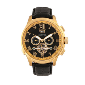 Heritor Automatic Hudson Semi-Skeleton Leather-Band Watch w/Day/Date - Black/Gold - HERHR7503