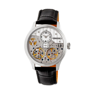 Heritor Automatic Winthrop Leather-Band Skeleton Watch - Silver - HERHR7301