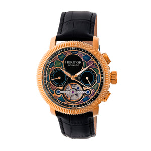 Heritor Automatic Aura Men's Semi-Skeleton Leather-Band Watch - Rose Gold/Black - HERHR3503