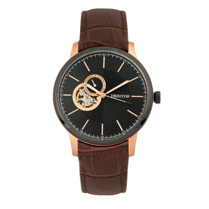 Heritor Automatic Landon Semi-Skeleton Leather-Band Watch - Rose Gold/Brown - HERHR7705