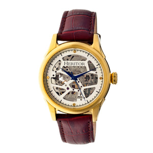 Heritor Automatic Nicollier Skeleton Leather-Band Watch - Gold/Brown - HERHR1904