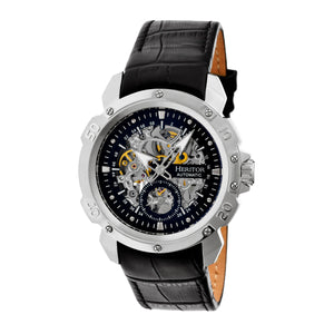 Heritor Automatic Conrad Skeleton Leather-Band Watch - Silver/Black - HERHR2504