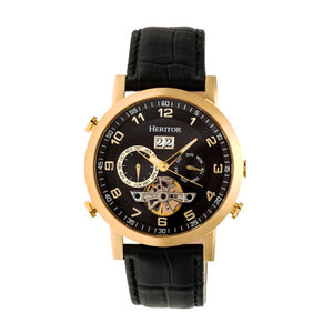 Heritor Automatic Edmond Leather-Band Watch w/Date