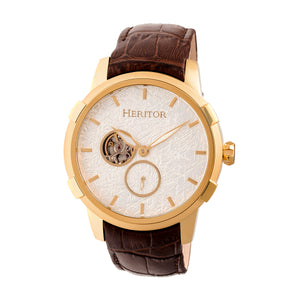 Heritor Automatic Callisto Semi-Skeleton Leather-Band Watch - Gold/Silver - HERHR7204