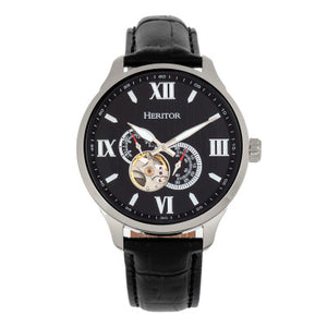 Heritor Automatic Harding Semi-Skeleton Leather-Band Watch