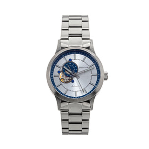 Heritor Automatic Oscar Semi-Skeleton Bracelet Watch - Blue/Silver - HERHS1009