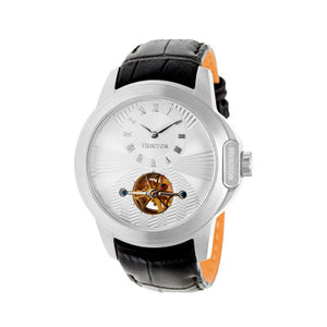 Heritor Automatic Windsor Semi-Skeleton Leather-Band Watch