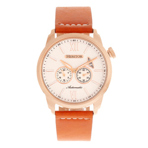 Heritor Automatic Wellington Leather-Band Watch - Camel/Rose Gold/White - HERHR8205