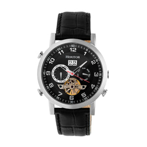 Heritor Automatic Edmond Leather-Band Watch w/Date - Silver/Black - HERHR6202