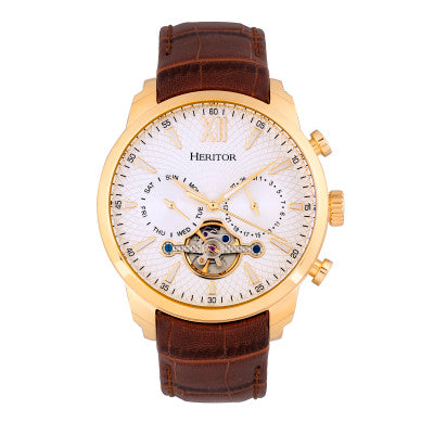 Heritor Automatic Arthur Semi-Skeleton Leather-Band Watch w/ Day/Date - HERHR7904
