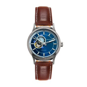 Heritor Automatic Oscar Semi-Skeleton Leather-Band Watch - Blue/Brown - HERHS1005