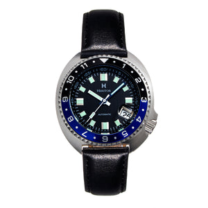 Heritor Automatic Pierce Leather-Band Watch w/Date - Black/Blue - HERHS1205