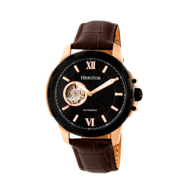 Heritor Automatic Bonavento Semi-Skeleton Leather-Band Watch