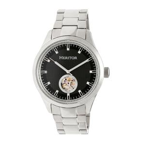 Heritor Automatic Crew Semi-Skeleton Bracelet Watch - Silver/Black - HERHR7002