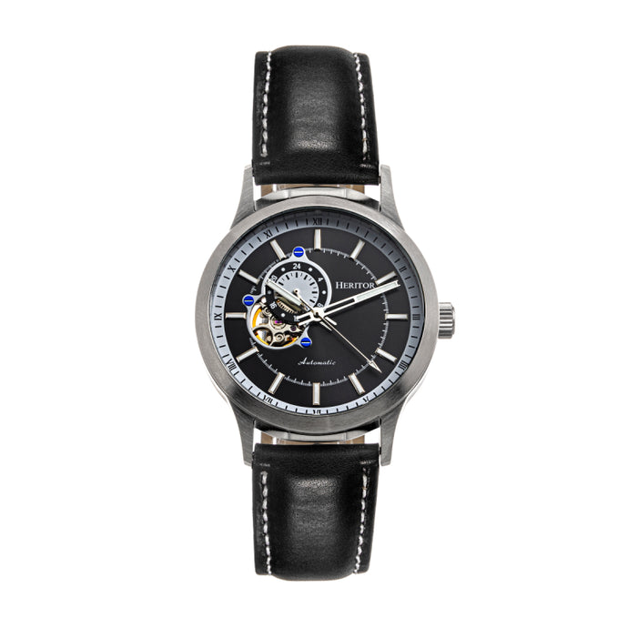 Heritor Automatic Oscar Semi-Skeleton Leather-Band Watch - HERHS1001