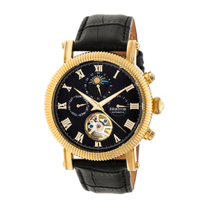 Heritor Automatic Winston Semi-Skeleton Leather-Band Watch - Gold/Black - HERHR5204