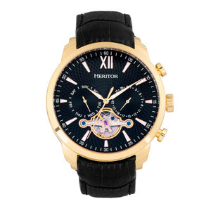 Heritor Automatic Arthur Semi-Skeleton Leather-Band Watch w/ Day/Date