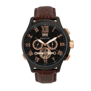 Heritor Automatic Hudson Semi-Skeleton Leather-Band Watch w/Day/Date - Brown/Black - HERHR7506