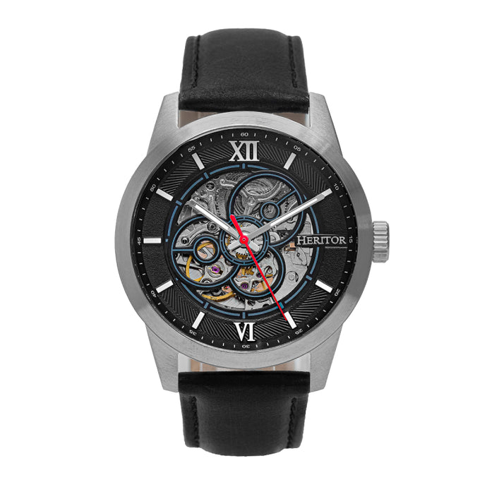 Heritor Automatic Jonas Leather-Band Skeleton Watch - HERHR9501