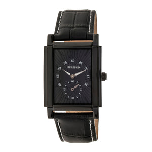 Heritor Automatic Frederick Leather-Band Watch - Black - HERHR6106