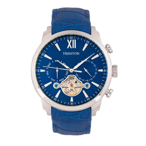 Heritor Automatic Arthur Semi-Skeleton Leather-Band Watch w/ Day/Date - Silver/Blue - HERHR7903