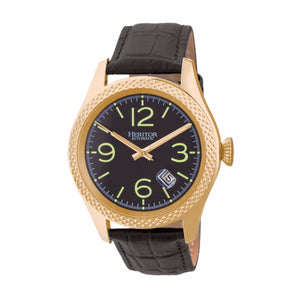 Heritor Automatic Barnes Leather-Band Watch w/Date - Gold/Black - HERHR7104