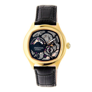 Heritor Automatic Odysseus Leather-Band Skeleton Watch