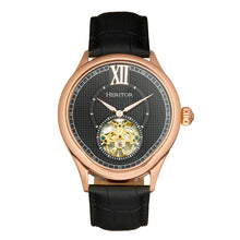Load image into Gallery viewer, Heritor Automatic Hayward Semi-Skeleton Leather-Band Watch - Rose Gold/Black - HERHR9406
