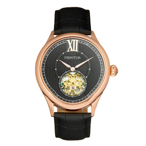 Heritor Automatic Hayward Semi-Skeleton Leather-Band Watch - Rose Gold/Black - HERHR9406