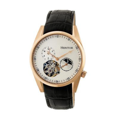 Heritor Automatic Alexander Semi-Skeleton Leather-Band Watch - HERHR4905