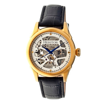 Heritor Automatic Nicollier Skeleton Leather-Band Watch - HERHR1903