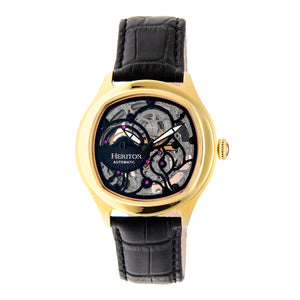 Heritor Automatic Odysseus Leather-Band Skeleton Watch - Gold/Black - HERHR3706