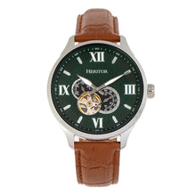 Load image into Gallery viewer, Heritor Automatic Harding Semi-Skeleton Leather-Band Watch - Silver/Green - HERHR9003