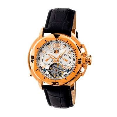 Heritor Automatic Lennon Semi-Skeleton Leather-Band Watch - HERHR2805