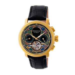 Heritor Automatic Aura Men's Semi-Skeleton Leather-Band Watch - Gold /Black - HERHR3502